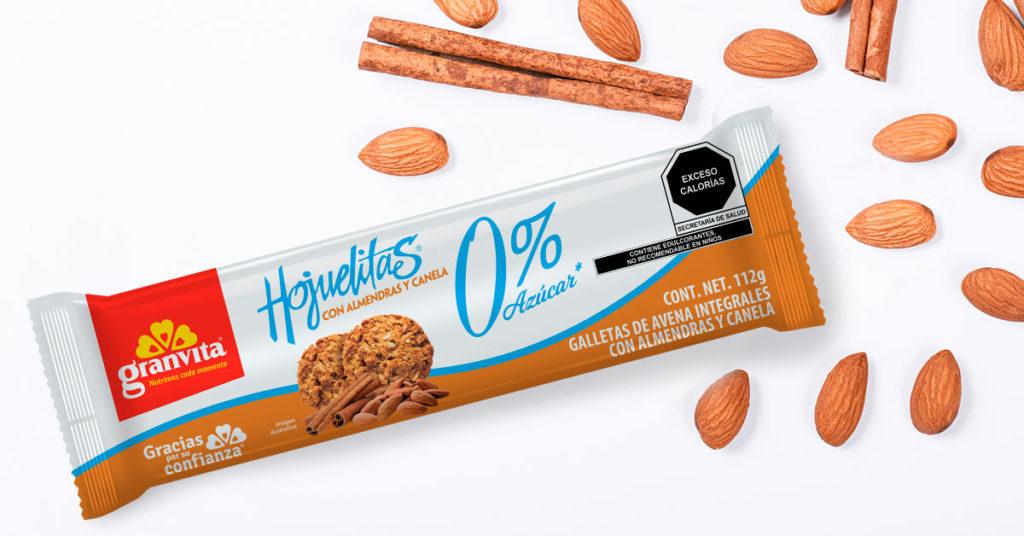 Imagen de galletas Hojuelitas 0% Sin Azúcar sabor Almendras con Canela