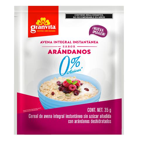 Avena Instantánea Integral 0 % Azúcar* sabor Arándanos 35 g
