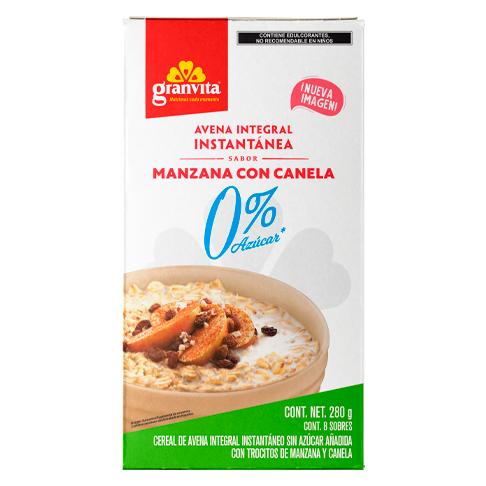 Avena Instantánea Integral 0 % Azúcar* sabor Manzana y Canela 280 g