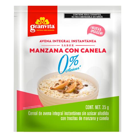 Avena Instantánea Integral 0 % Azúcar* sabor Manzana y Canela 35 g