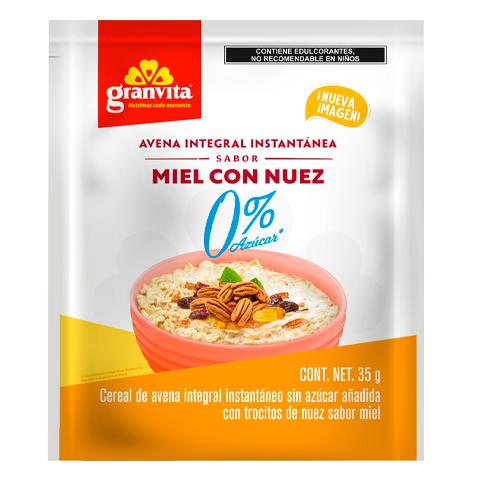 Avena Instantánea Integral 0 % Azúcar* sabor Miel con Nuez 35 g