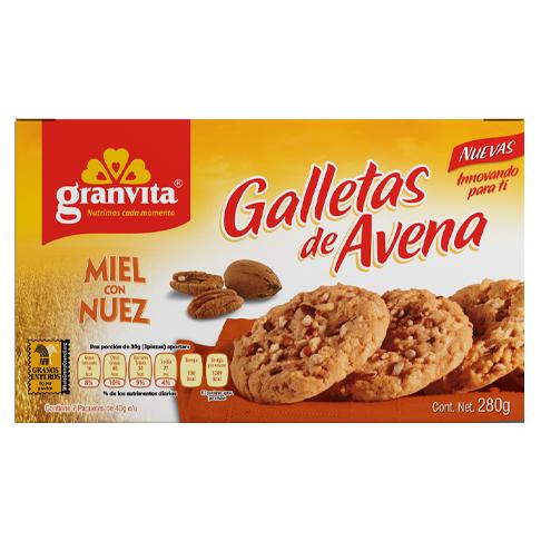 Galletas de Avena plegadizo con Miel y Nuez 280 g