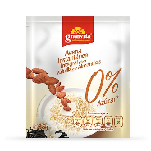 Avena Instantánea Integral 0 % Azúcar* sabor Vainilla con Almendras 35 g