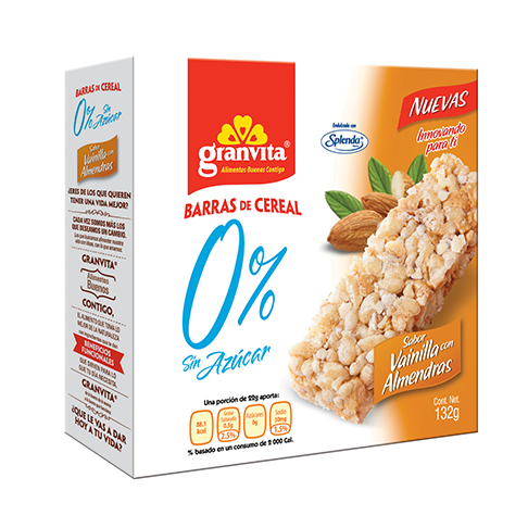 Barras 0 % Sin Azúcar Sabor Vainilla con Almendras Plegadizo 132 g