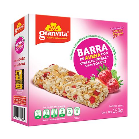 Barras tradicionales de avena con cereales, fresas y sabor yogurt 150 g