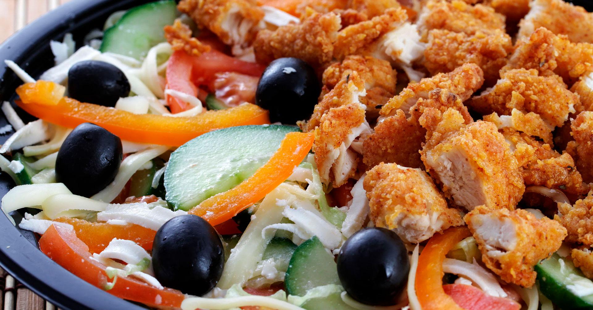Ensalada oriental con pollo y avena