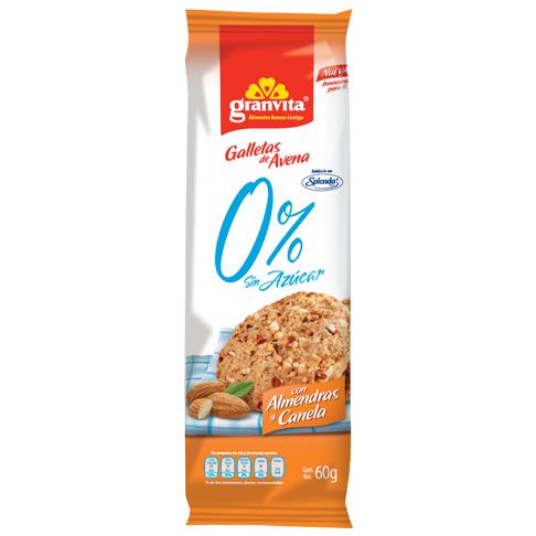 Galletas de Avena 0 % Sin Azúcar paquetín Con Almendras y Canela 60 g