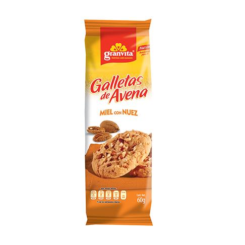 Galletas de Avena paquetín Miel con Nuez 60 g