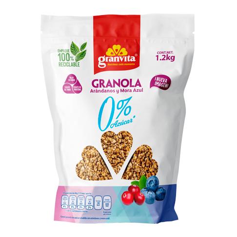 Granola 0 % Azúcar* con Arándanos y Mora Azul 1.2 Kg