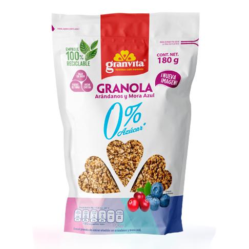 Granola 0 % Azúcar* con Arándanos y Mora Azul 180 g