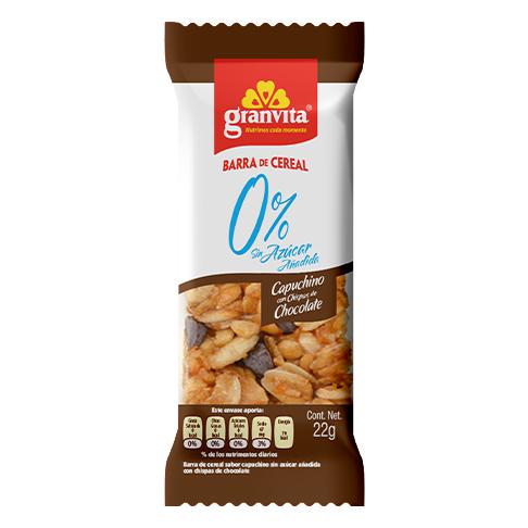 Barra de Cereal 0 % Sin Azúcar Añadida Sabor Capuchino con Chispas de Chocolate 22 g