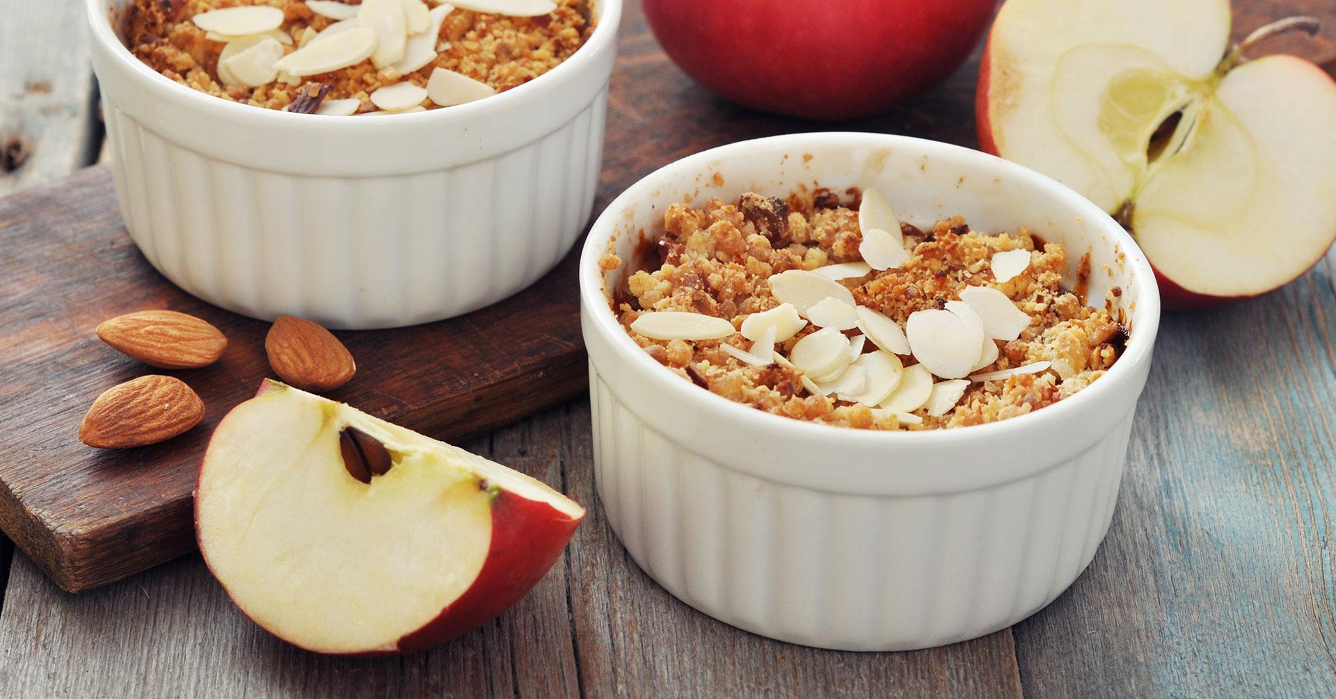 Crumble de manzana con avena y nueces