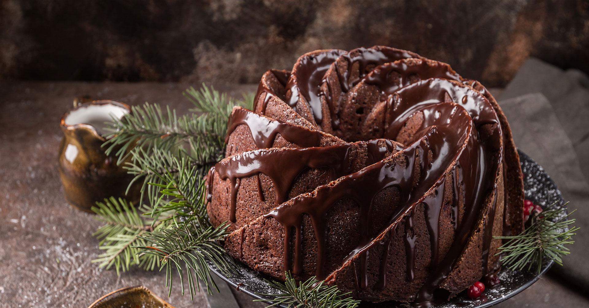 Rosca navideña de avena y chocolate