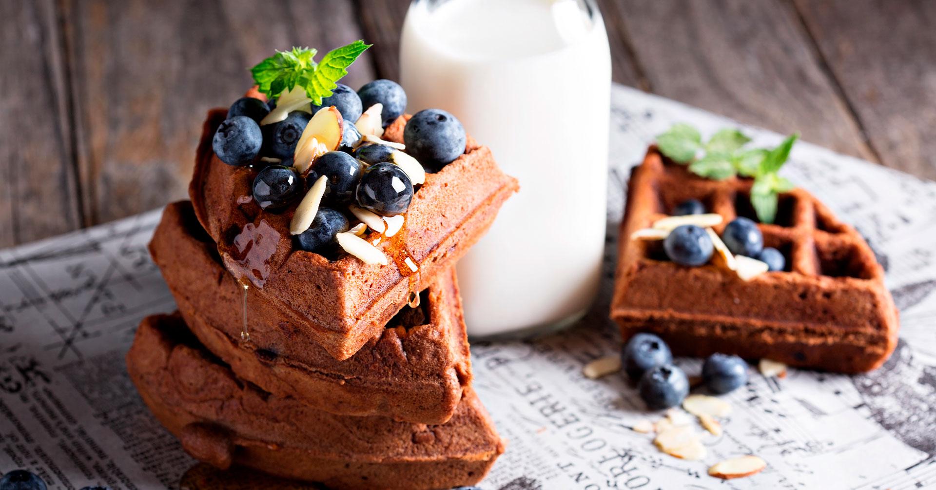 Deliciosos wafles de avena y chocolate