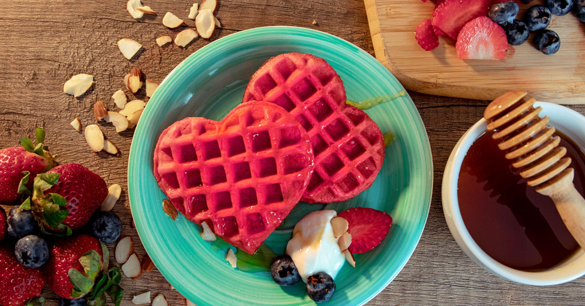 Waffles de avena en forma de corazón
