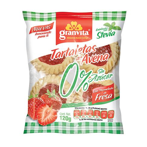 Tartaletas de Avena 0 % Sin Azúcar con Mermelada de Fresa 120 g