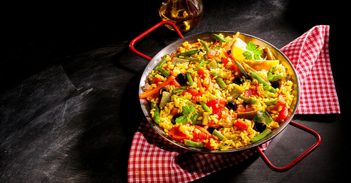 Paella vegetariana de avena