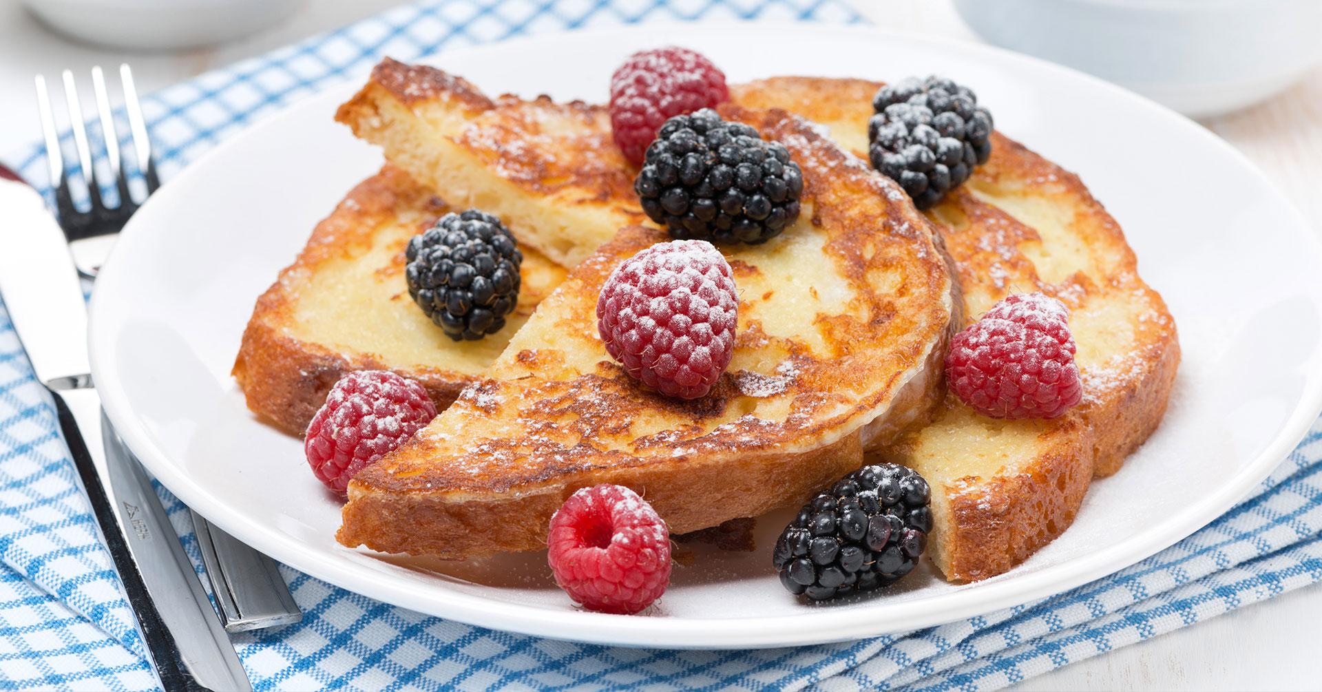 Tostadas francesas con frambuesa