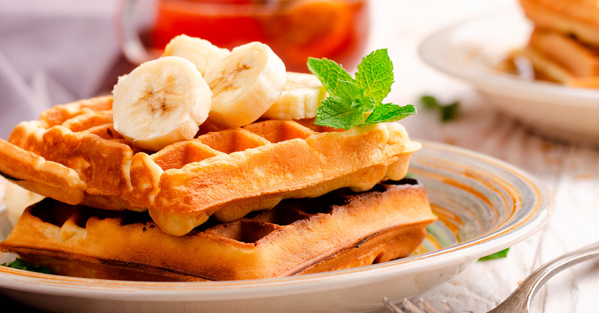 Wafles de avena con chía y plátano