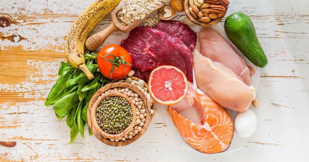 Imagen de alimentos ricos en proteínas.