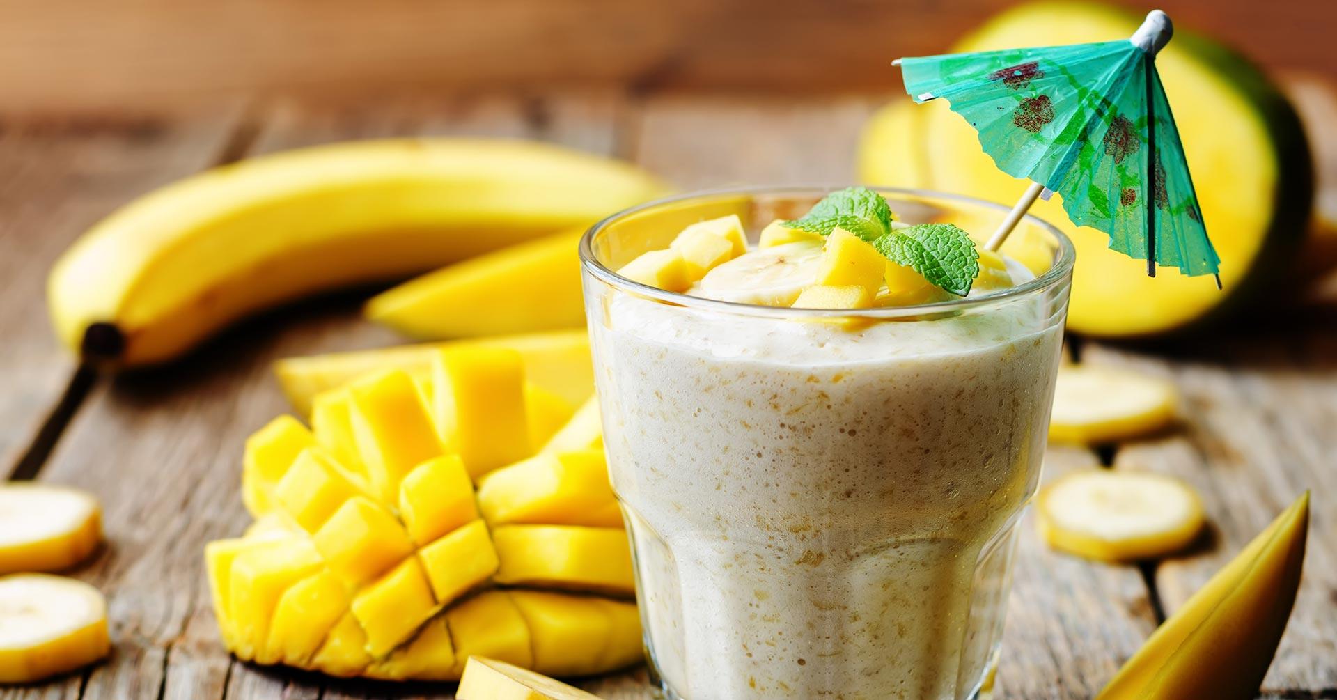 Smoothie de mango con plátano