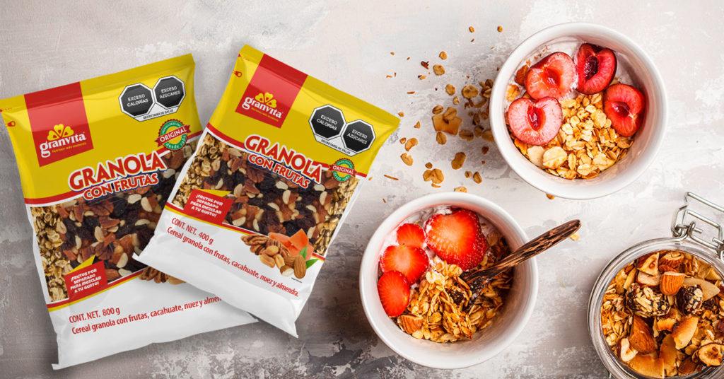 Imagen de granolas con frutas Granvita