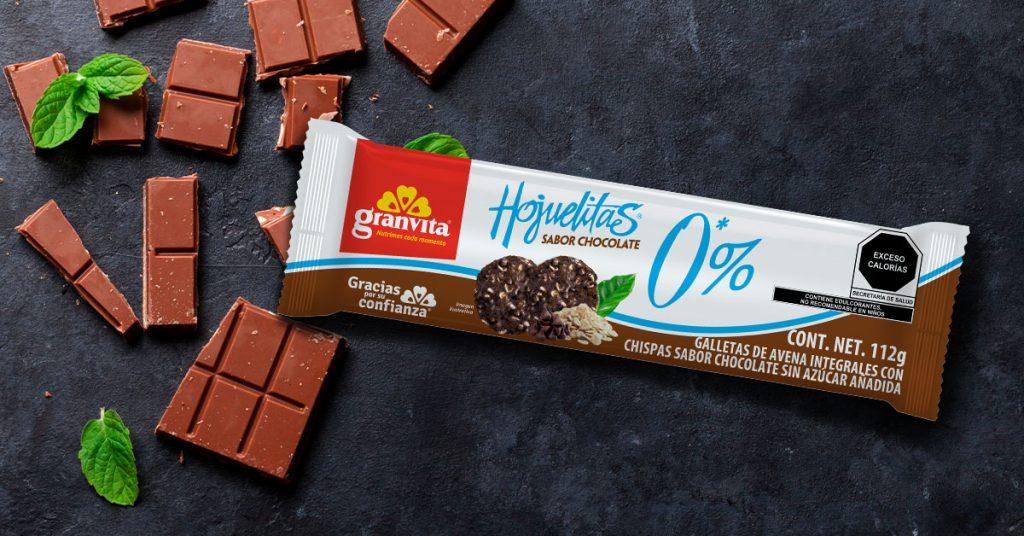 Imagen de paquete de galletas Hojuelitas 0% Azúcar sabor chocolate
