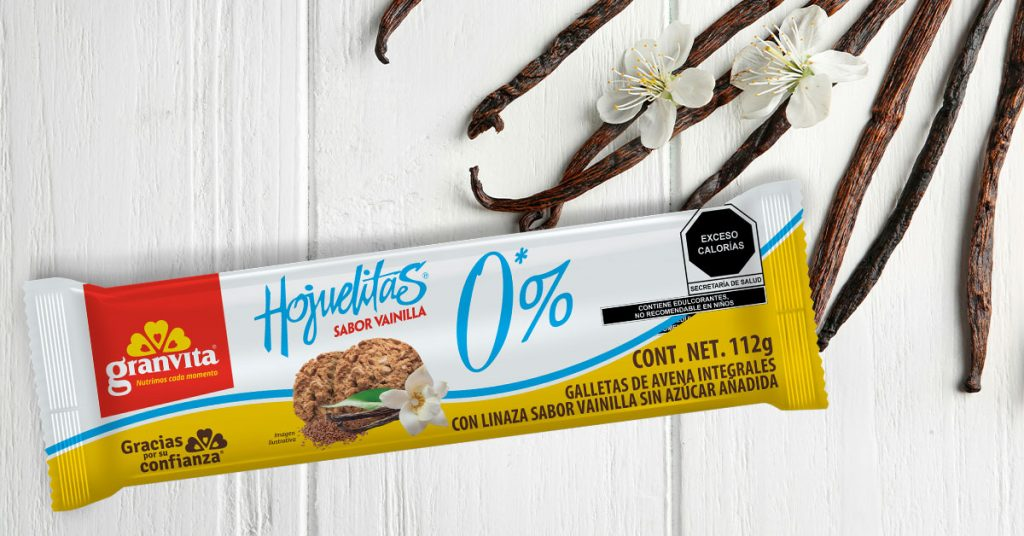 Imagen de paquete de galletas Hojuelitas 0% Azúcar sabor vainilla