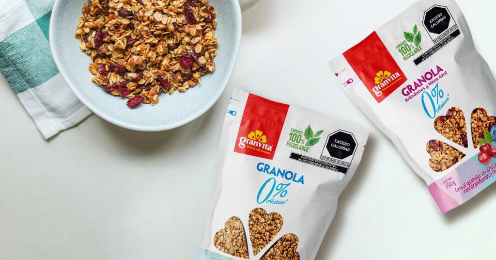 Imagen de granola cero por ciento azúcar Granvita diferentes sabores