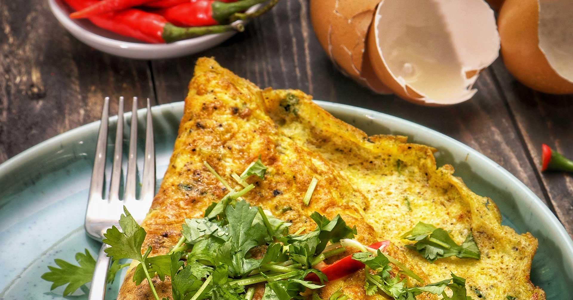 Tortilla de huevo y espinacas