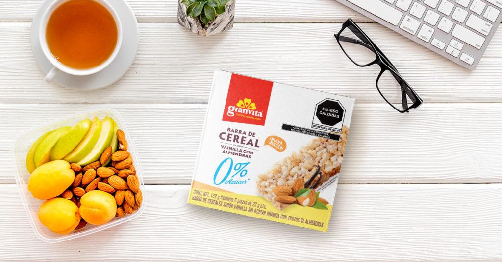 Imagen de barras de cereal cero por ciento azúcar añadida sabor vainilla con almendras