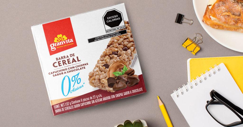 Imagen de barras de cereal cero por ciento azúcar sabor capuchino con chispas de chocolate